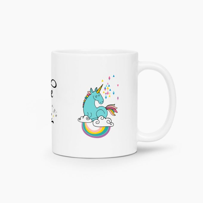 mug licorne believe in magic bleu