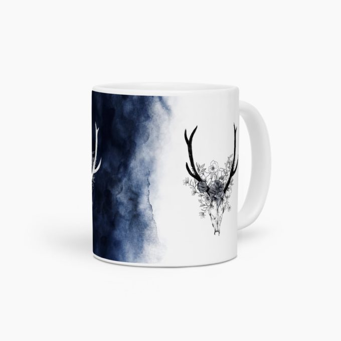 mug design crane buffle watercolor navy
